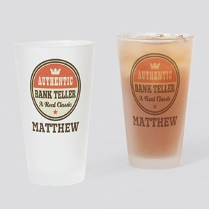 Personalized Bank Teller Gift Drinking Glass