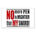 No Mere Pen Rectangle Sticker
