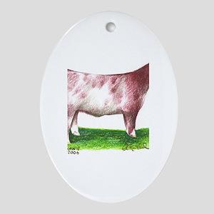 Shorthorn Steer Oval Ornament