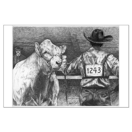 """""""Is He Lookin' Charolais Large Poster"""