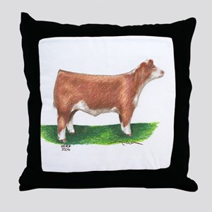 Hereford Steer Throw Pillow
