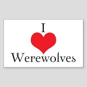 I Love (Heart) Werewolves Rectangle Sticker