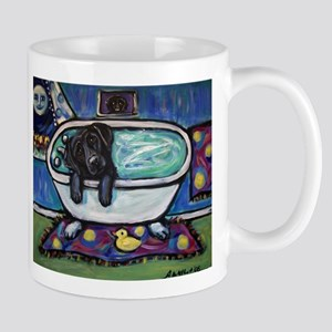 Black Labrador whimsical bath Mug