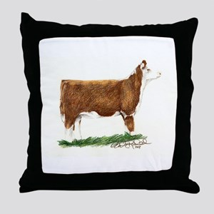 Hereford Heifer Throw Pillow