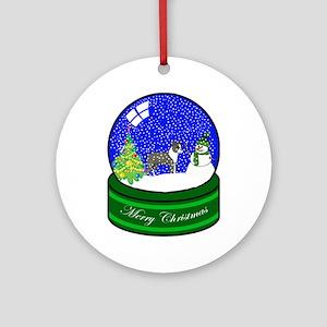 Snow Globe Boston Terrier Ornament (Round)