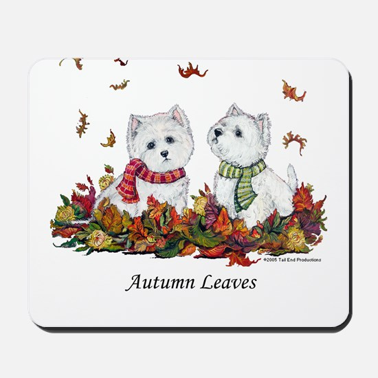 West Highland White Terrier Leaves Mousepad