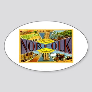 Norfolk Virginia Greetings Oval Sticker