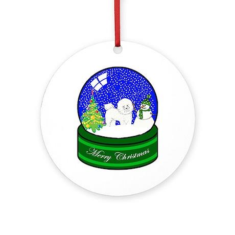 Snow Globe Bichon Frise Ornament (Round)