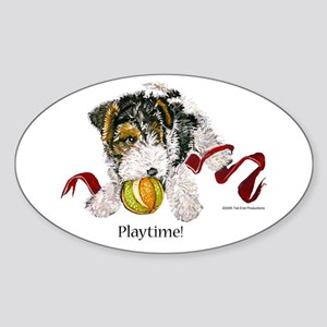 Fox Terrier Puppy Oval Sticker