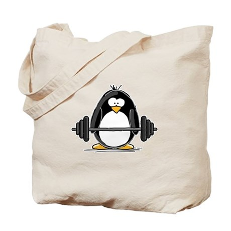 Weight lifting penguin Tote Bag