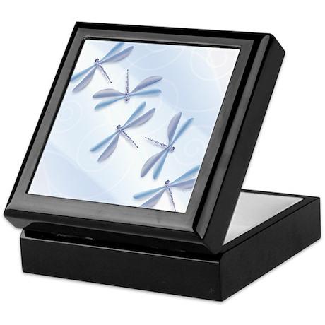 Dragonflies in Steel Blue Keepsake Box