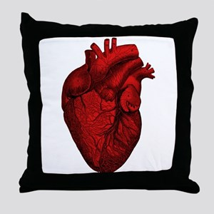 Vintage Anatomical Human Heart Throw Pillow