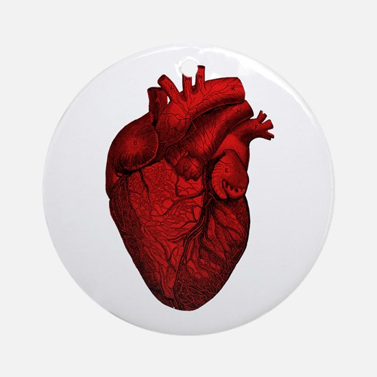 Vintage Anatomical Human Heart Ornament (Round)