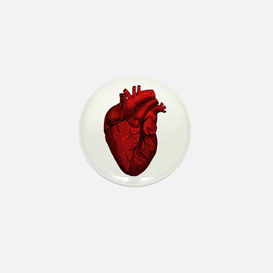 Vintage Anatomical Human Heart Mini Button