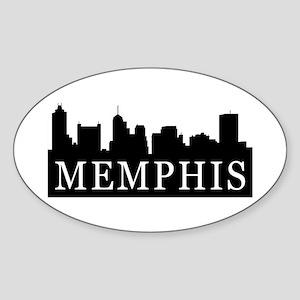 Memphis Skyline Oval Sticker