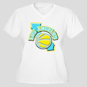 Los Angeles Basketball Women's Plus Size V-Neck T-