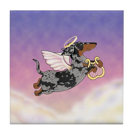 Silver Dapple Dachshund Angel Tile Coaster