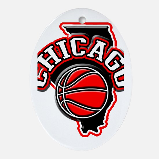 Chicago Basketball Oval Ornament