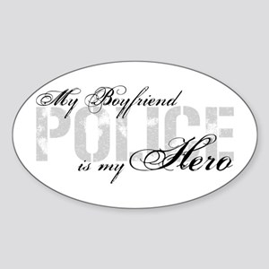 My Boyfriend is My Hero - POLICE Oval Sticker