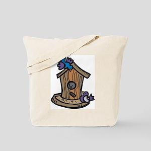 Birds with Birdhouse White Tote Bag