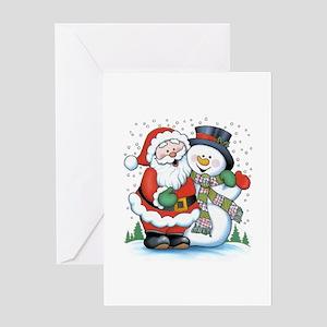 Santa and Snowman Greeting Card