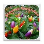 Pepper Christmas Lights Tile Coaster