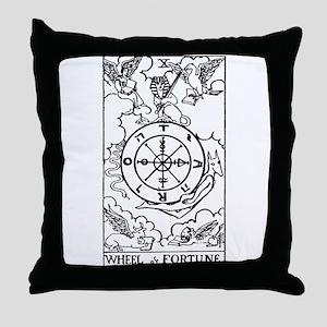 Wheel of Fortune Tarot Card Throw Pillow