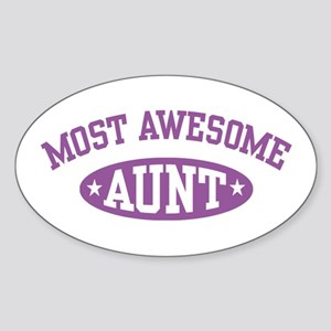 Most Awesome Aunt Oval Sticker