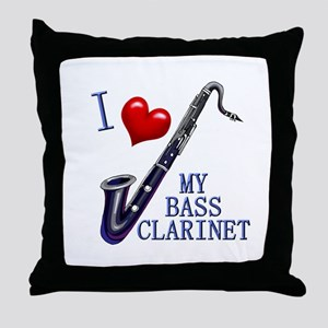 I Love My BASS CLARINET Throw Pillow