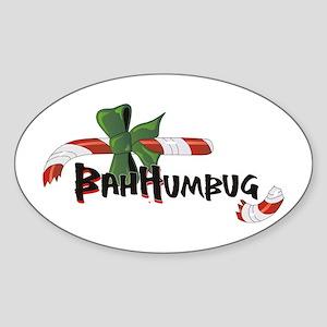 Bah Humbug Broken Candy Cane Sticker (Oval)