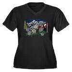 Alpine Chalet Women's Plus Size V-Neck Dark T-Shir