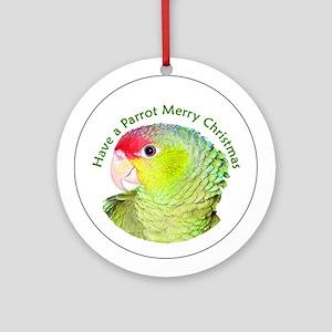 Amazon Parrot Merry Christmas Ornament (Round)
