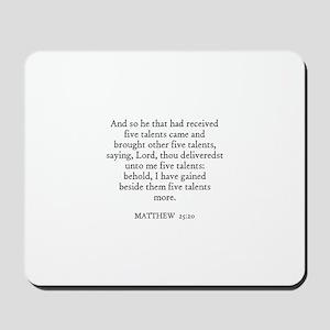 MATTHEW  25:20 Mousepad