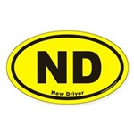 New Driver ND Euro Oval Sticker in Yellow