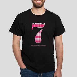 Number 7 Pink Plaid - Dark T-Shirt