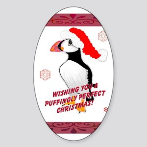 Puffingly Perfect Christmas! Oval Sticker