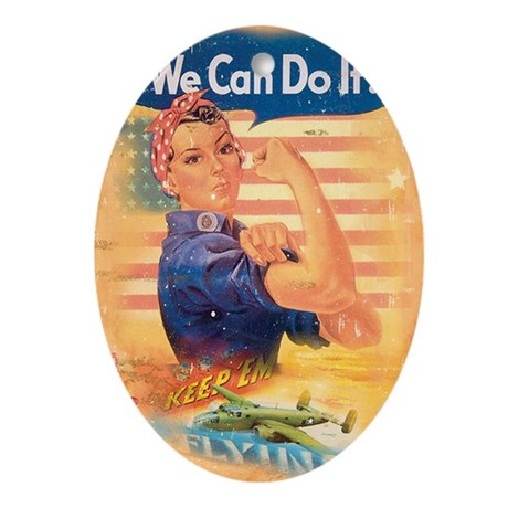 Rosie the Riveter Oval Ornament