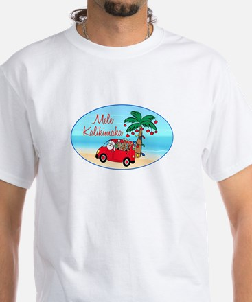 Hawaiian Christmas Santa White T-Shirt