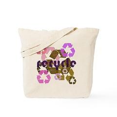 Pink & Brown Recycle Vintage Reusable Tote Bag