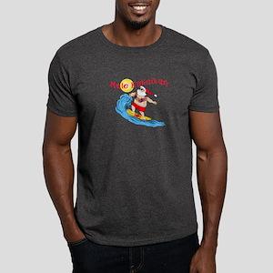 Hawaiian Christmas Surfing Santa T-shirt Dark T-Sh