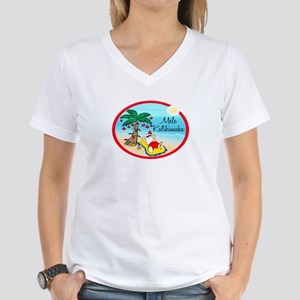 Hawaiian Christmas Lazy Santa Women's V-Neck T-Shi