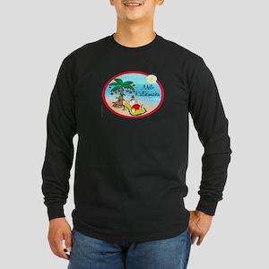 Hawaiian Christmas Lazy Santa Long Sleeve Dark T-S