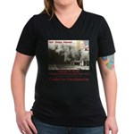 Thanks W Women's V-Neck Dark T-Shirt
