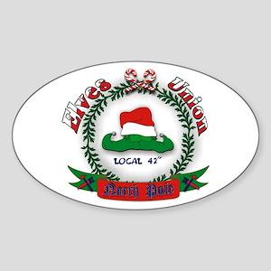 Elves Union Christmas Sticker (Oval)