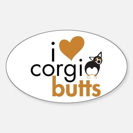I Heart Corgi Butts - BHT Oval Decal