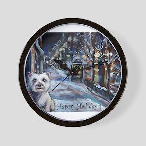 Westie Xmas card Wall Clock