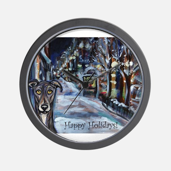Greyhound Christmas Wall Clock