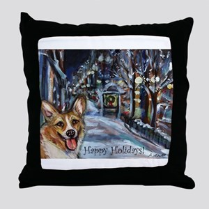 Welsh Corgi Christmas Throw Pillow