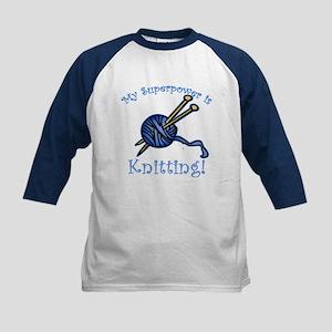 My Superpower is Knitting Kids Baseball Jersey
