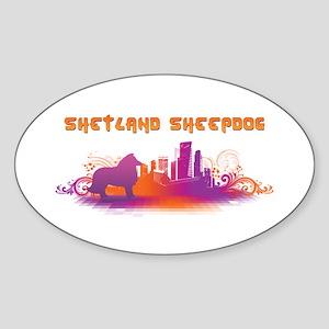 """City"" Shetland Sheepdog Oval Sticker"